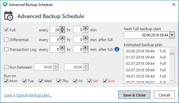 Scheduled backup and the end of each month - How it works