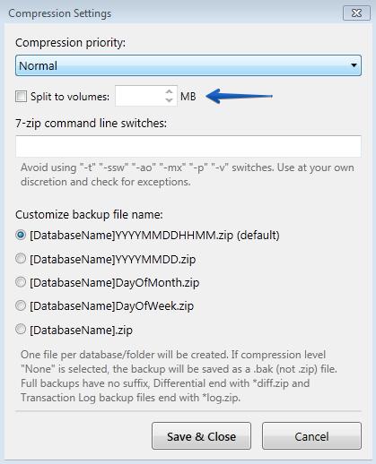 Backup file size limit - Sql Backup And FTP community