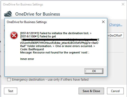 OneDrive for Business Destination error - Destination Issues