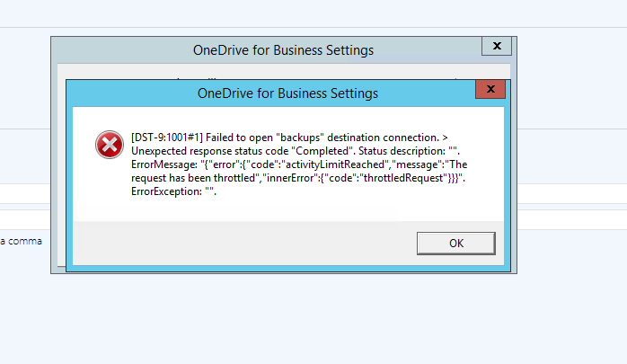 One drive for business destination issue - Destination Issues - Sql